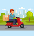 delivery man riding red motor bike