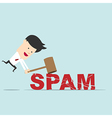 Business man use hammer try to break SPAM word vector image vector image