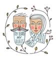 Bearded Man and No Beard Woman Portraits vector image vector image
