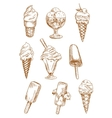 Ice cream desserts sketches set vector image