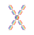 Letter X made in rainbow colors vector image vector image