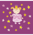 kid girl princess with stars vector image