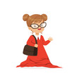 beautiful girl wearing dult oversized red dress vector image