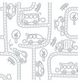 cars on the road seamless pattern vector image