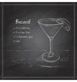 coctail bacardi on black board vector image