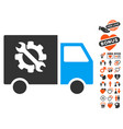 equipment truck icon with dating bonus vector image