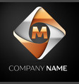 letter m logo symbol in the colorful rhombus on vector image