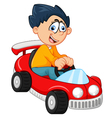 Little boy playing with his car toy vector image