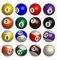 Set of pool balls in 3D vector image