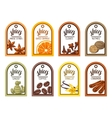 Tags with various spices of anise vector image
