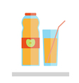 Apple juice glass and bottle isolated vector image