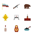 Russia icons set flat style vector image