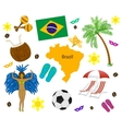 Brazil symbol map and flag over white vector image