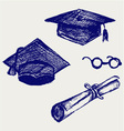 Graduation cap points and diploma vector image