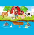 farm scene with farmer and animals by river vector image