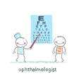 ophthalmologist checks sight of the patient with vector image