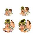 pop art social network user avatars of man vector image