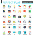 set of flat business project icons vector image
