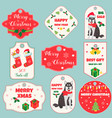 set of holiday tags with christmas decoration vector image
