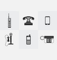 silhouette telephone icons vector image