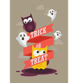 Trick or Treat with owls Halloween poster vector image