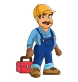 construction or industrial worker holding toolbox vector image