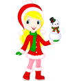 girl and snowman vector image vector image