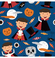 Halloween background with kids and candies vector image