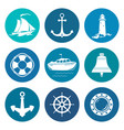 set of round marine travel icons vector image
