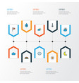 weather colorful outline icons set collection of vector image