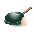 frying pan and egg vector image vector image