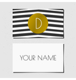 black white and gold chevron pattern business card vector image vector image