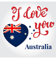 I love you Australia Hand lettering Greeting Card vector image