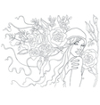 beautiful girl with flowers in her hair beautiful vector image vector image