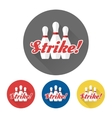 Flat skittles set and Strike sign vector image