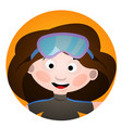 avatar is a fun diver cartoon portrait of a woman vector image