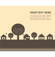 Card template with houses and trees vector image