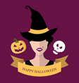 halloween card with witch in vector image