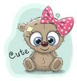 cute drawing bear girl vector image vector image