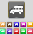 Bus icon sign Set with eleven colored buttons for vector image
