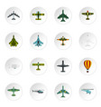 aviation icons set flat style vector image