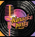 banner with mic and vinyl record for karaoke party vector image