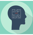Maze in the shape of a human head concept vector image