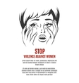 Woman cries Stop violence against women vector image