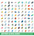 100 post and mail icons set isometric 3d style vector image