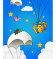 Three parachutes with gifts vector image vector image