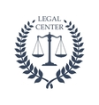 Legal Center emblem with Scales of Justice icon vector image