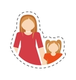 mother and daughter relation family cut line vector image