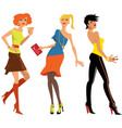 Three young women at the party vector image vector image