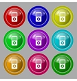 Portable musical player icon Set colur buttons vector image